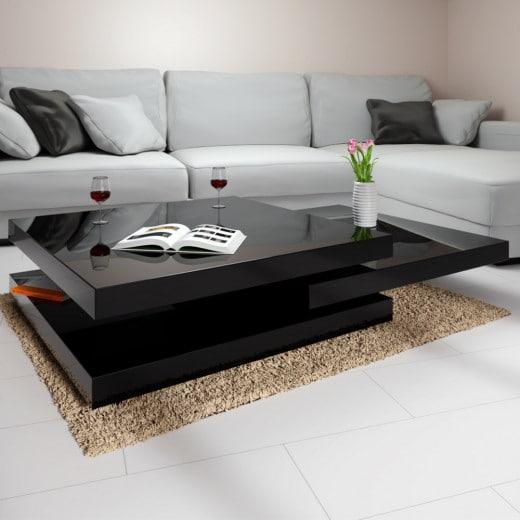 Coffee Table New York 2.5x2.5ft Black - rotatable