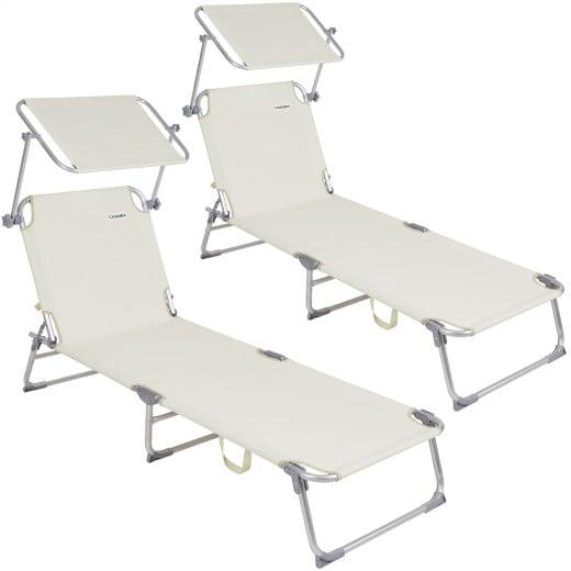2x Sun Lounger Folding Sunbed Adjustable Backrest Sunshade Breathable Reclinable Beach Garden Pool Fast Dry