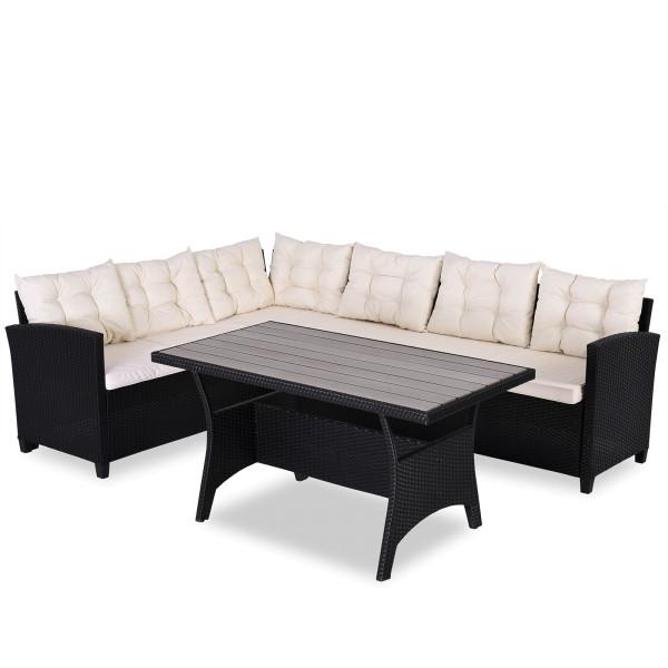 Poly Rattan Garden Lounge Set - Black