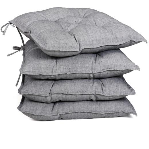 Seat Cushions 4Pcs Light Grey Mottled 40x40x8cm