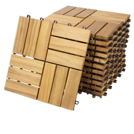 Wooden Tiles Acacia Mosaic 1x1ft Set of 11