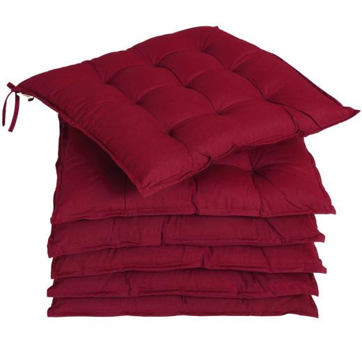 6x Garden Chair Cushion Cozy 55% Cotton Outdoor Patio Dark Red