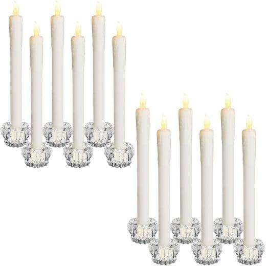 Set of 12 LED Dinner Candles including Candlesticks
