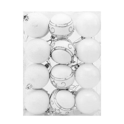 Christmas Bauble 24Pcs White