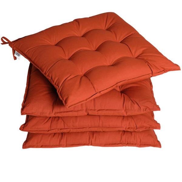 Detex 4x Seat Cushion Chair Pads Indoor Outdoor Memory Foam Elastic Terracotta