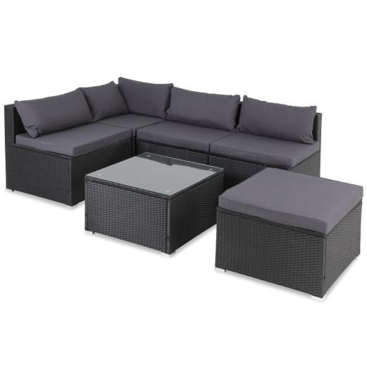 Poly Rattan Corner Sofa Set 16Pcs Black/Anthracite