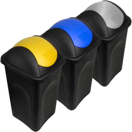 Mülleimer mit Schwingdeckel 3 tlg. Kunststoff Gelb/Blau/Silber 60 Liter