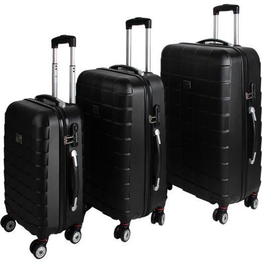 Kofferset Hartschale 3 tlg. Schwarz M/L/XL aus ABS 36l, 59l, 89l