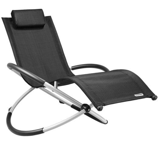 Sun Lounger in Black Foldable