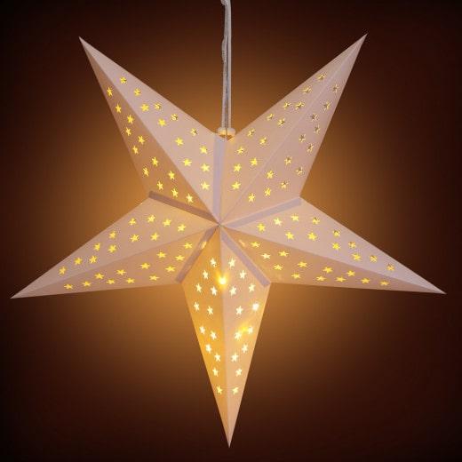 LED Paper Star Cream 2ft 5 Arms Stars