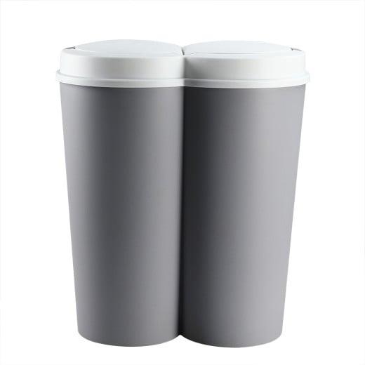 Double Dustbin Grey Plastic 2x25L