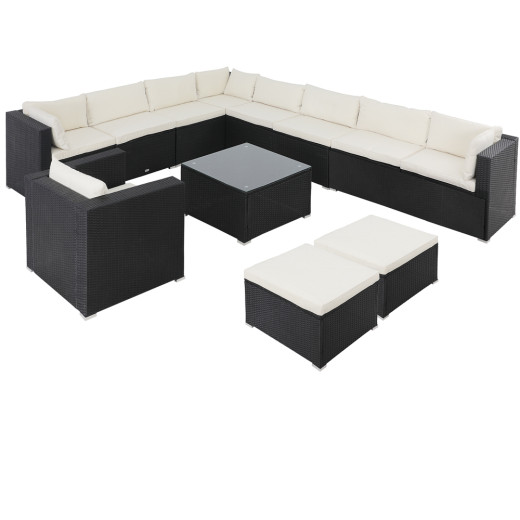 Polyrattan Corner Sofa Set 35Pcs Black/Cream