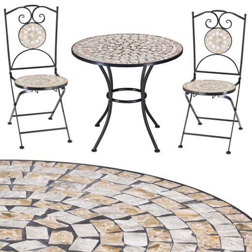 Bilbao Mosaiktisch und zwei Stühle