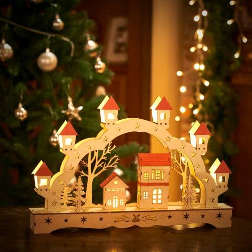 LED Candle Arch Wood