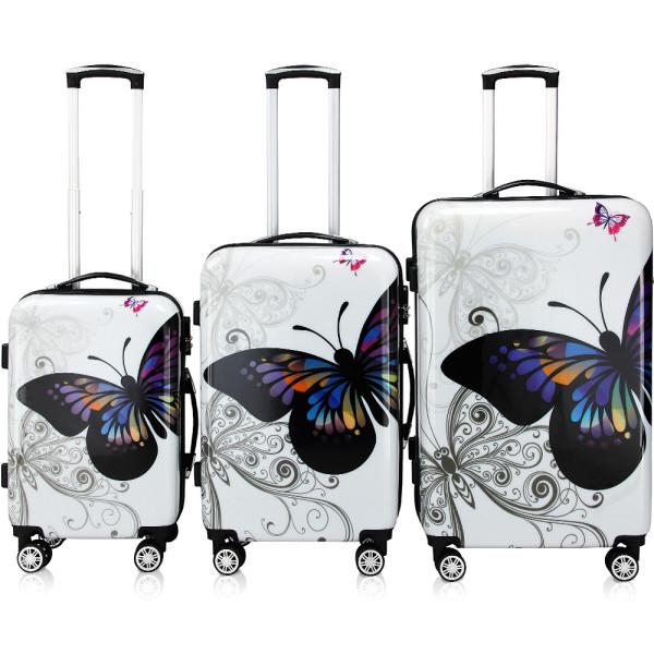 3 Pieces Hard Suitcase Butterfly Lock 360° Double Castors