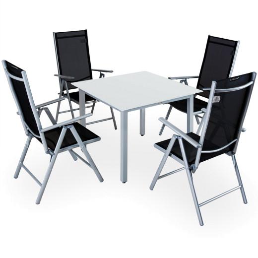 Aluminum Garden Dining Set Outdoor Furniture Bern 4+1 Silver Frosted Glass