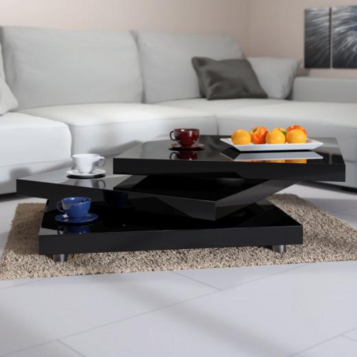 Coffee Table New York 2x2ft Black - rotatable