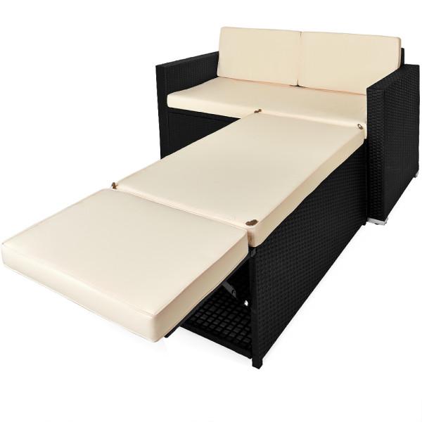 Poly Rattan Sofa Set 2 Seater Ottoman with Storage