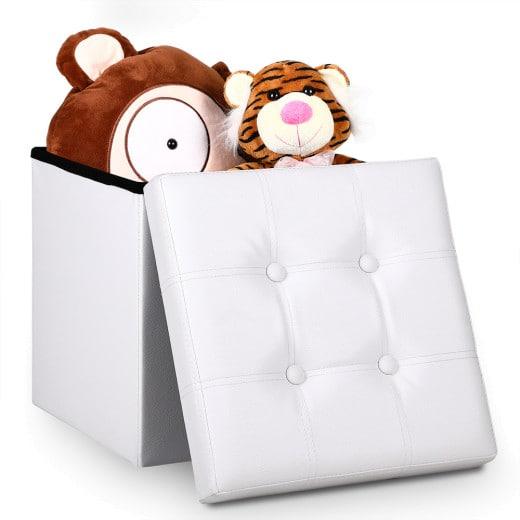Faltbarer Sitzhocker mit Stauraum in weiß