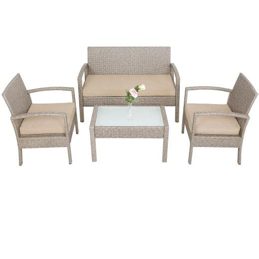 Polyrattan Lounge Sitzgruppe 7-tlg. Creme