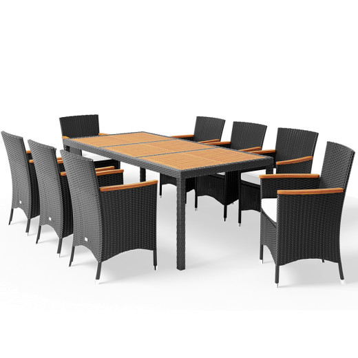 Poly Rattan Garden Furniture Set 17 Pcs Black Acacia Wood