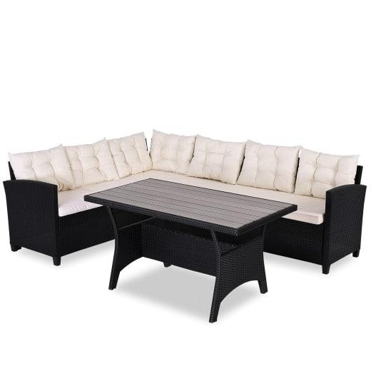 Polyrattan Corner Sofa Black with WPC Table Top