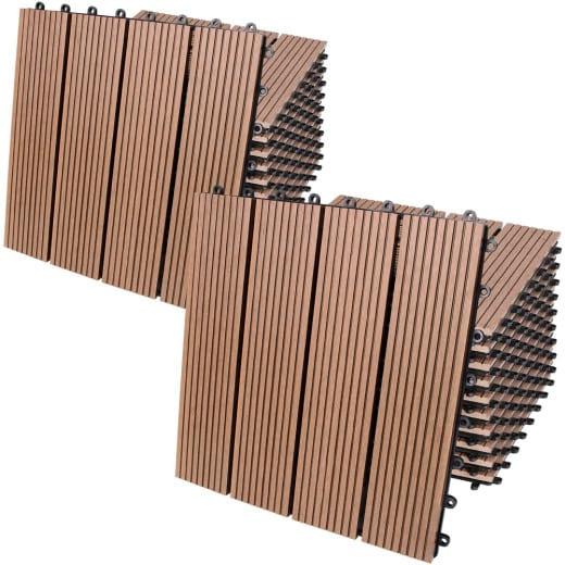 WPC Decking Tiles 22Pcs Terracotta 30x30cm