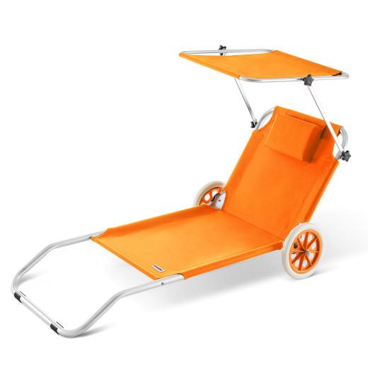 Sun Lounger Kreta Orange Aluminium with Castors