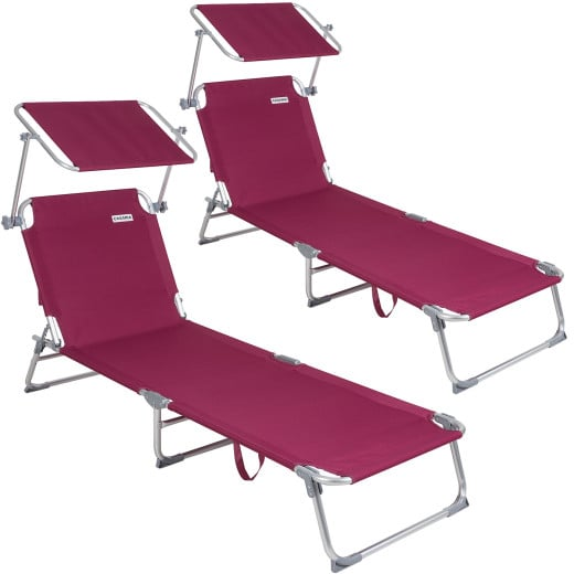 Sun Lounger Ibiza 2Pcs Red Aluminium with Sun Shade