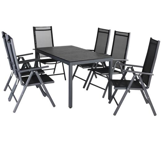 Garden Dining Set Bern 7 Pcs Anthracite WPC Table Top