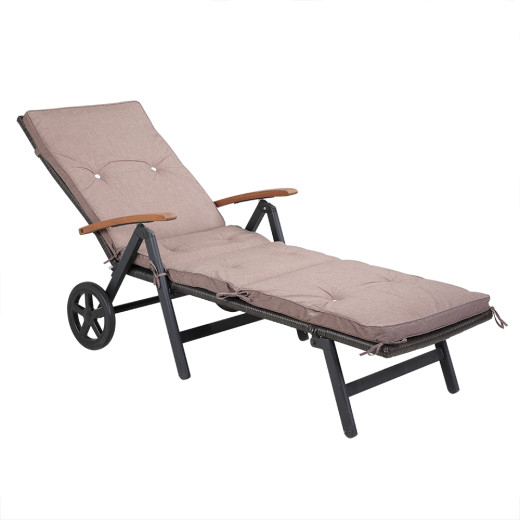 Outdoor Cushion for Sun Loungers Creme Beige 4 Segments